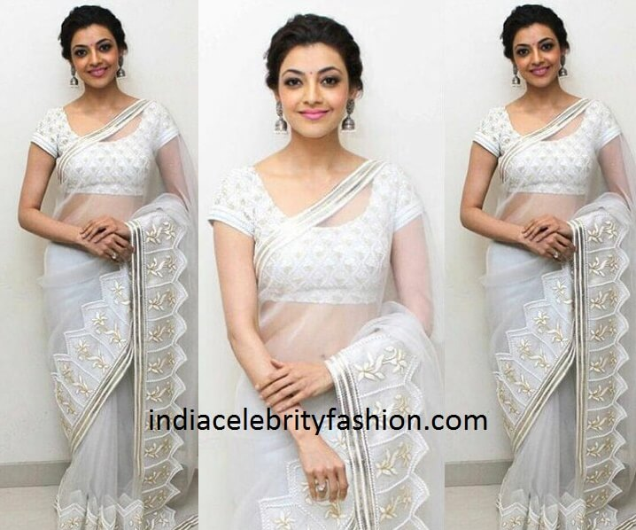 Kajal Aggarwal in Off White Net Saree