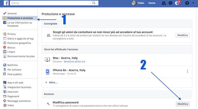 impostazioni protezione e accesso facebook da sito web per cambio password