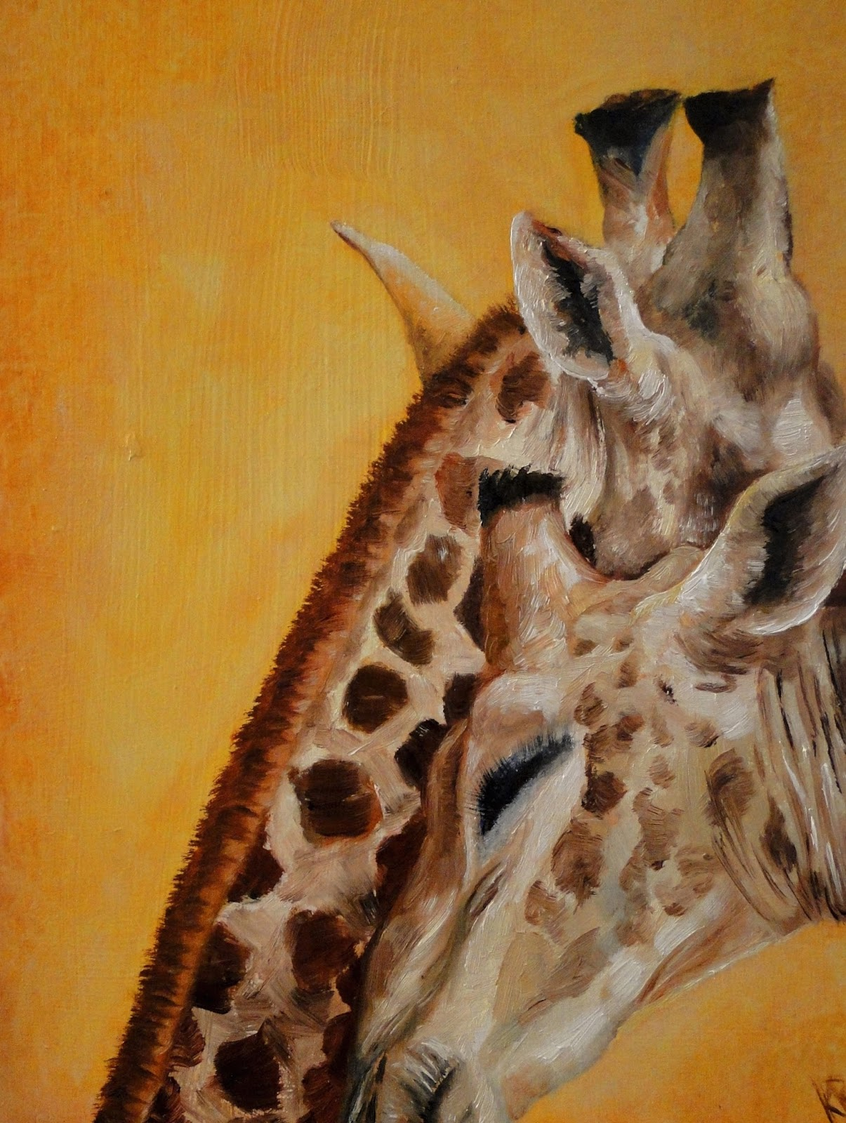 oil painting of two giraffes being affectionate, for Valentine's Day. A pet portrait by Karen.