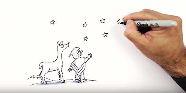 Dibujo de llama y hombre andino y mano del dibijante Guillo