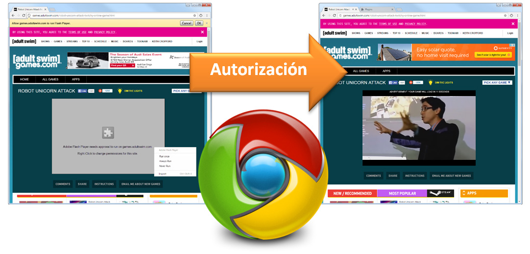 Autorización de Google al Flash Player