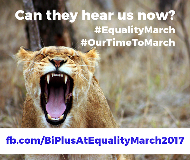 Image of a yellow cougar with its mouth open wide yawning and letters that say Can they hear us now? #EqualityMarch #OurTimeToMarch fb/com/biplusatequalitymarch2017