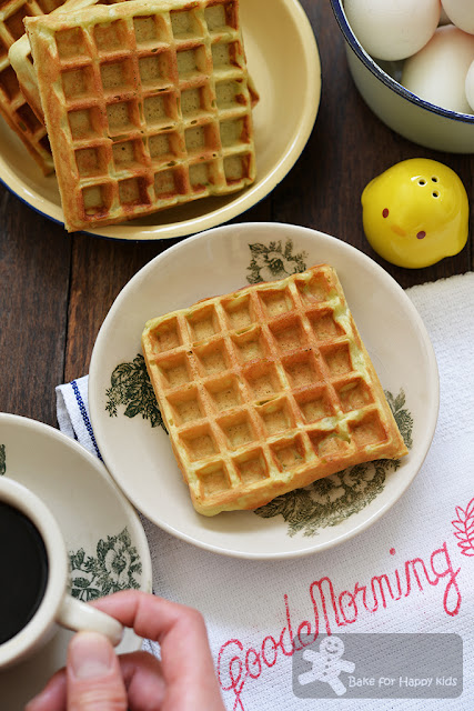 easy light crispy pandan waffles