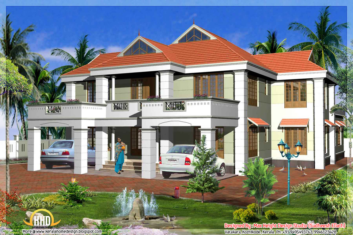2 kerala model house elevations kerala home design and for Kerala 3d home floor plans