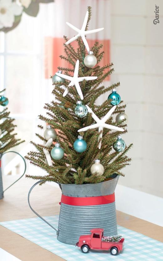 Beachy Coastal Mini Christmas Trees in Buckets & Baskets