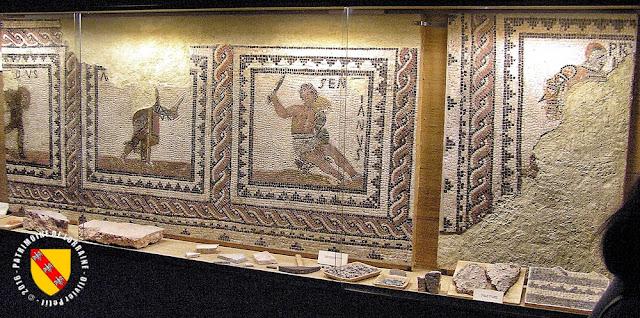 METZ (57) - Musée de la Cour d'Or : Mosaïque gallo-romaine aux gladiateurs
