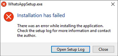there was an error while installing the application
