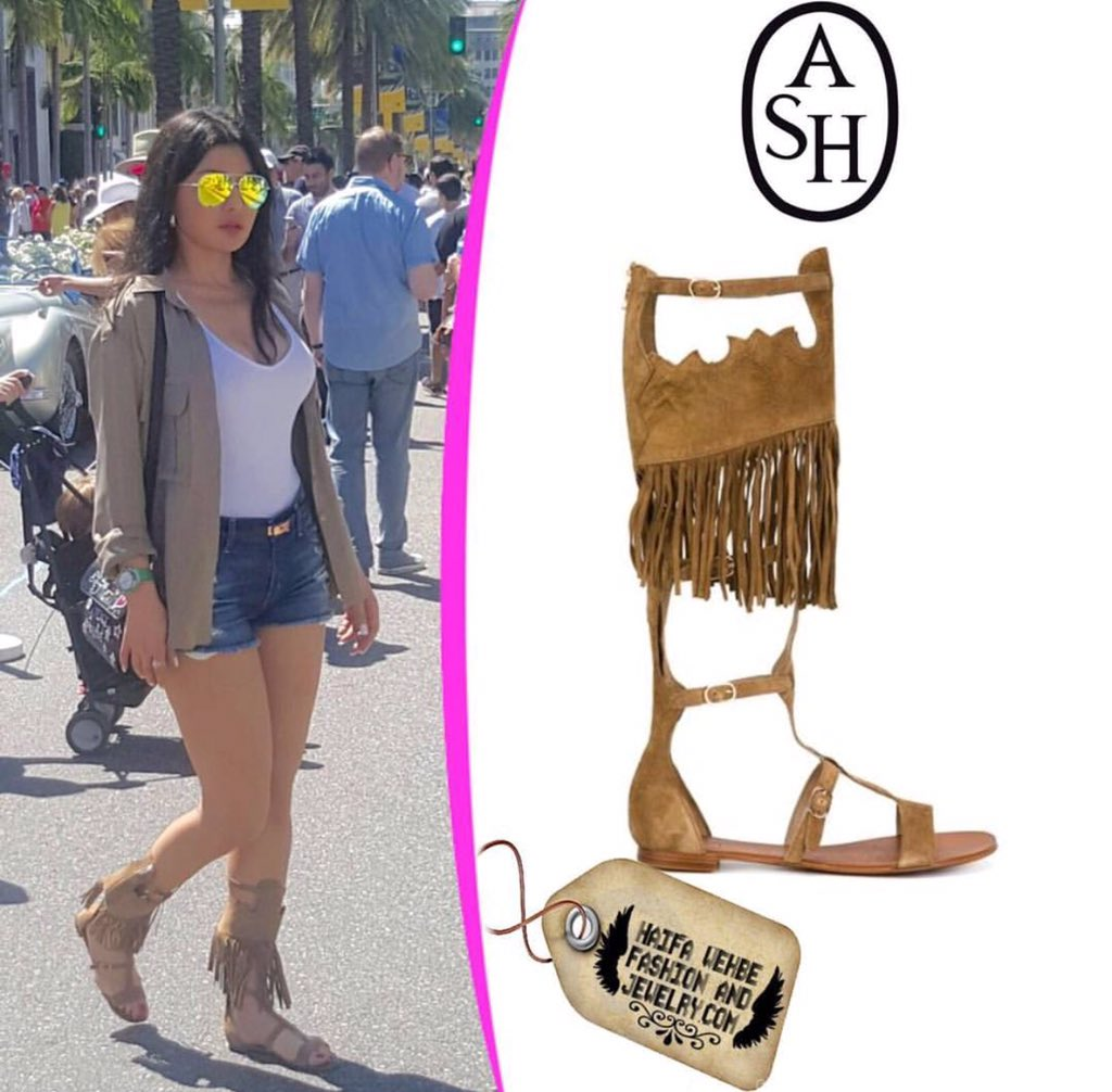 Haifa Wehbe Wearing brown suede fringe gladiator sandals by Ash 464569142dc2f