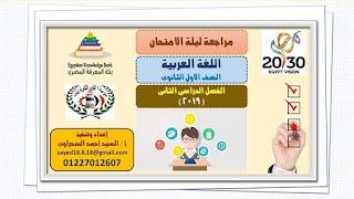 ليله امتحان اللغه العربيه للصف الاول الثانوي الترم الثاني للاستاذ السيد السحراوى