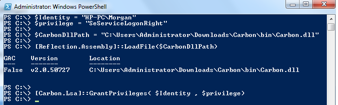 Set Logon As A Service right to User by Powershell