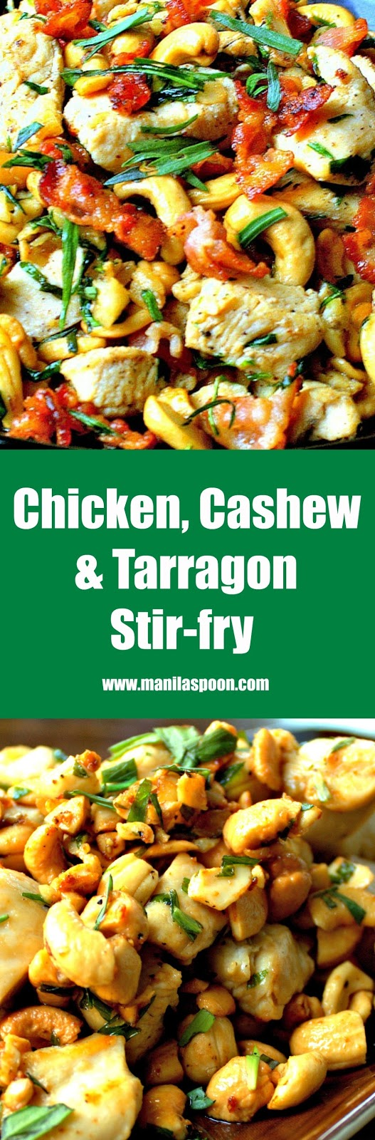 My mother-in-law passed on this recipe to us as my hubby loves this dish! So easy to make, quick and seriously delicious, too! Gluten-free and low-carb, too. Chicken, Cashew and Tarragon Stir-fry (with Bacon) | www.manilaspoon.com