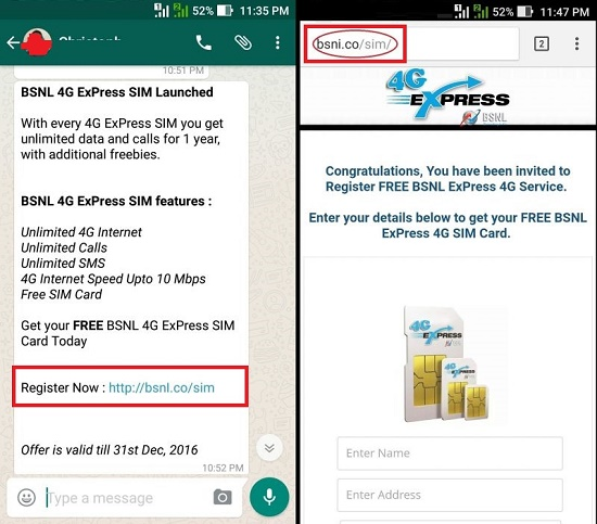 Customer Alert: 'BSNL 4G Express SIM launched with One year free 4G data, voice calls and SMS' is spam