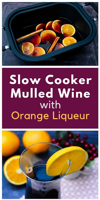 A dump recipe for slow cooker mulled wine with added orange liqueur for a boosted orange flavour. Serve warm from the slow cooker for your guests. Includes free printable recipe. #mulledwine #slowcookerrecipe #crockpotrecipe #spicedwine #wine #winterdrink #slowcookerdrinks #drinks