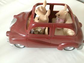 Sylvanian families in car