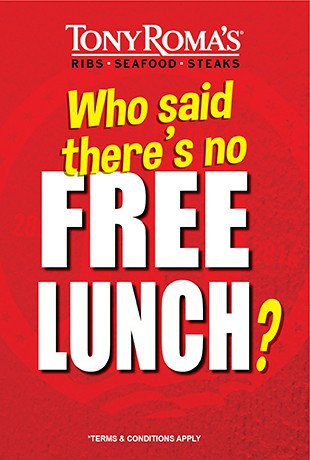 Tony Roma S Free Entree With Lunch On Weekday Until 31 December 2016