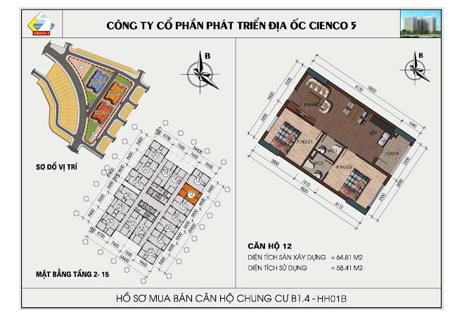 sơ đồ căn hộ chung cư B1.4 căn 12 tòa HH01B