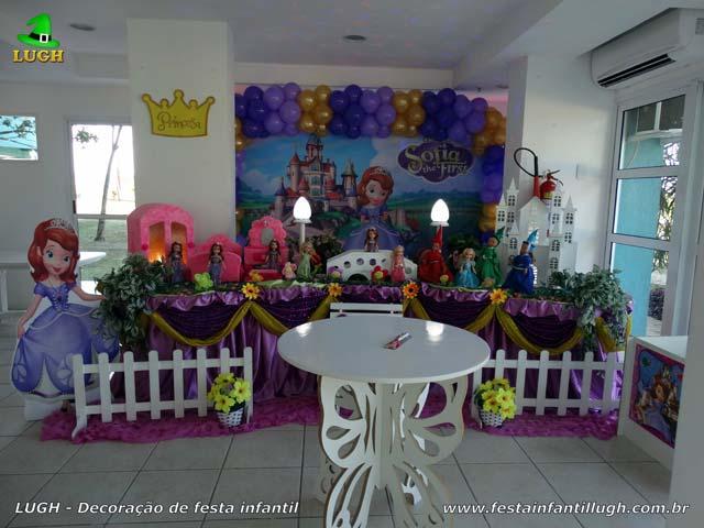 Decoração de aniversário Princesa Sofia - Mesa luxo para festa infantil