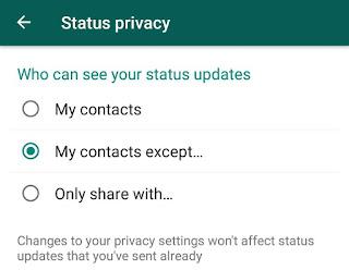 WhatsApp status privacy option