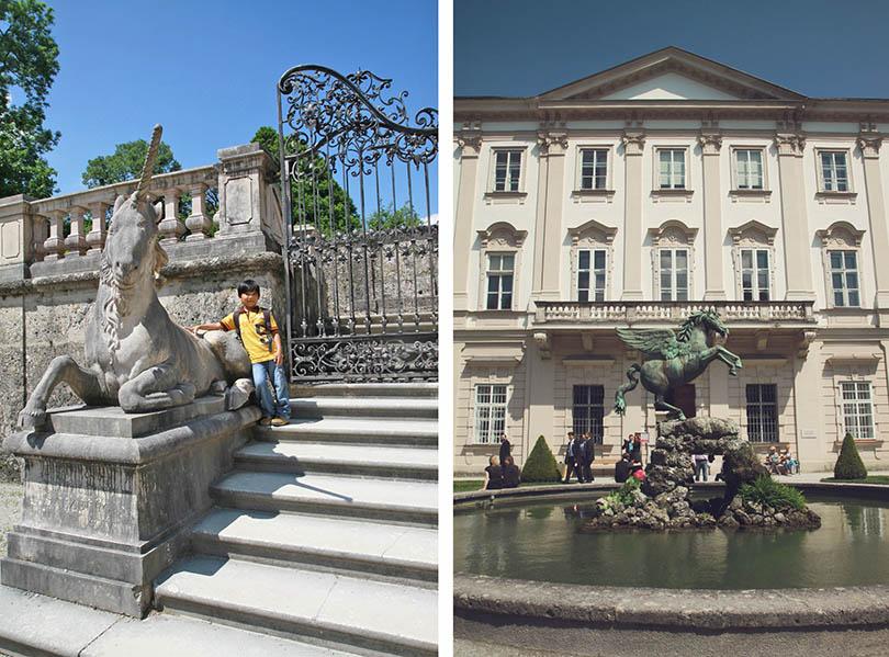 Treppen und Pegasus-Brunnen ....