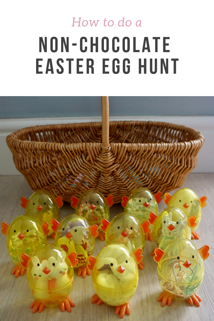 Top tips and ideas on how to stage a non-chocolate Easter Egg hunt for kids - ideas and links for products to buy kids would love to get.