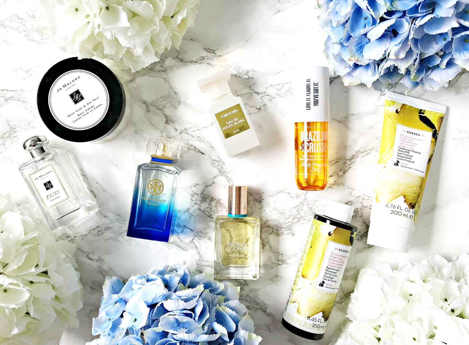Estée Lauder Bronze Goddess, Jo Malone Wood Sage & Sea Salt, Korres Ginger Lime, Sol De Janeiro Brazilian Bum Bum Cream & Body Mist, Tom Ford Eau De Soleil Blanc, Tory Burch Bel Azur, The scent of summer