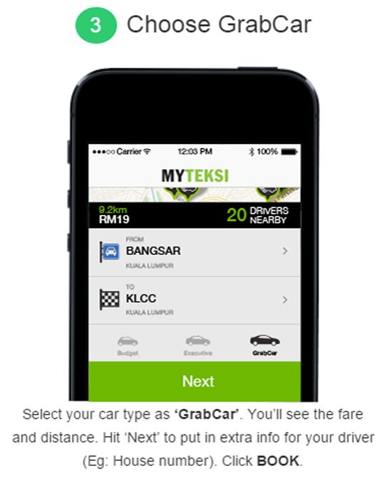 Cara booking online Grabcar MyTeksi
