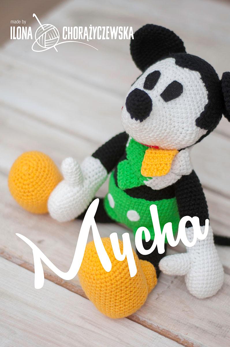 maskotka klubu żużlowego, barwy żółto biało zielone, Zielona Góra, myszka Mickey