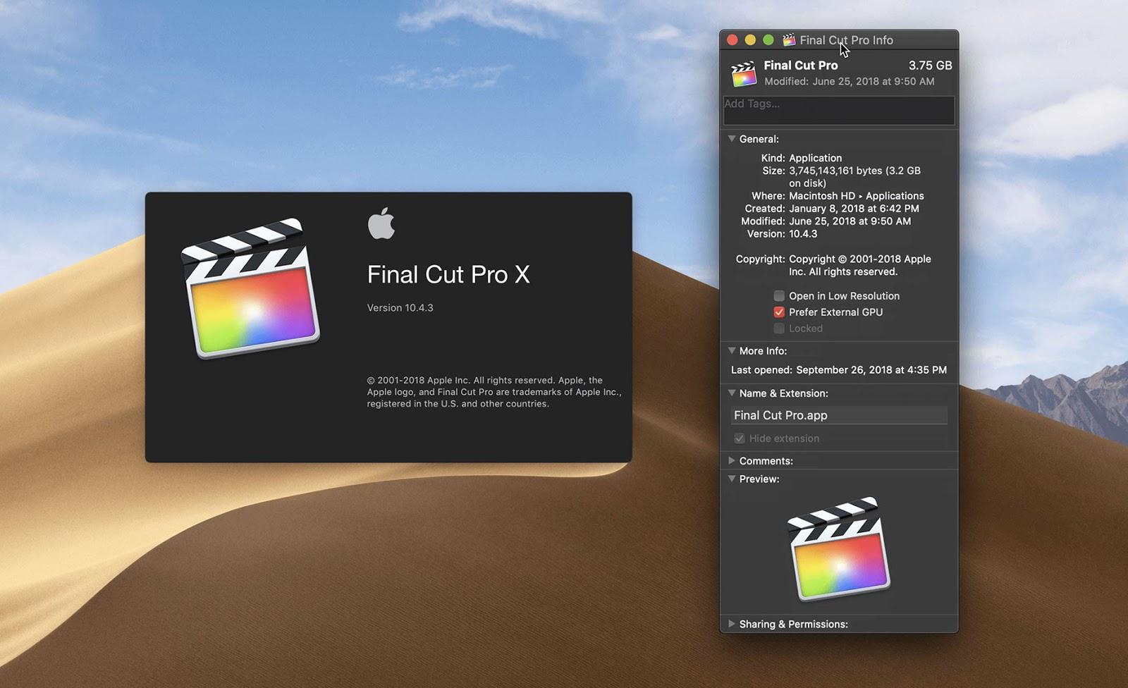 Mojave 讓 Final Cut Pro X 支援外接 eGPU 顯卡