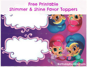 Shimmer and Shine favor bag toppers