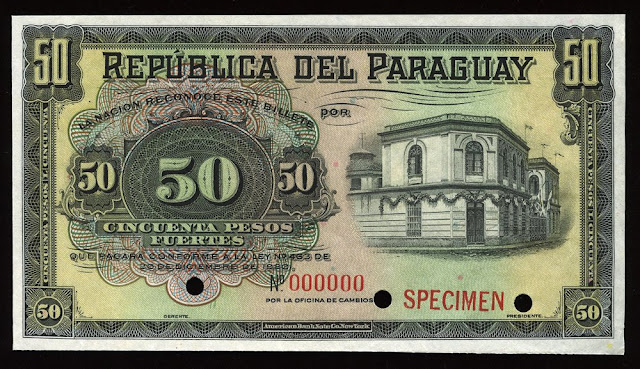 World paper money Paraguay Currency 50 Pesos banknote