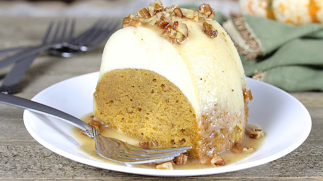 Pumpkin Flan Cake with Maple Brown Butter Glaze