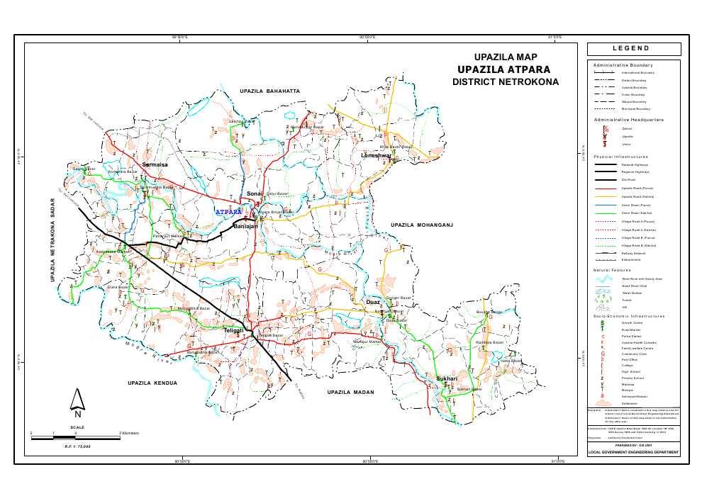 Atpara Upazila Map Netrokona District Bangladesh