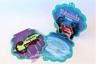 Convite artesanal A pequena Sereia Ariel