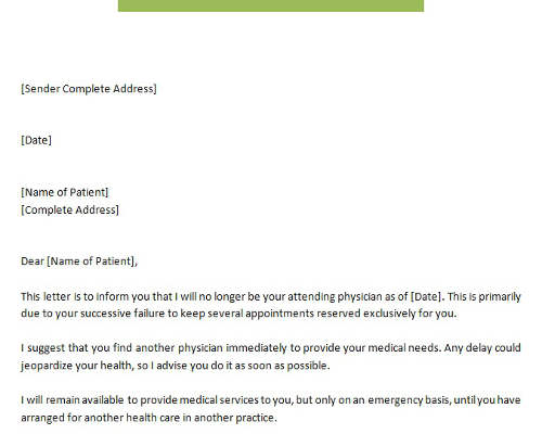 Patient Termination Letter No Show