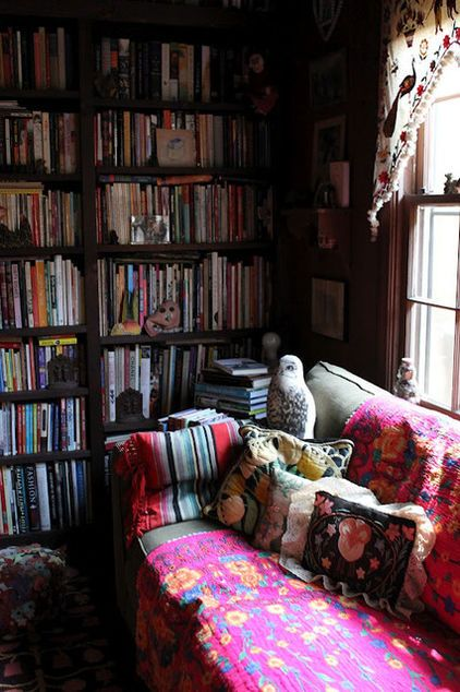 Boho Library Wall Living Room: Moon To Moon: Library... Floor To Ceiling Books