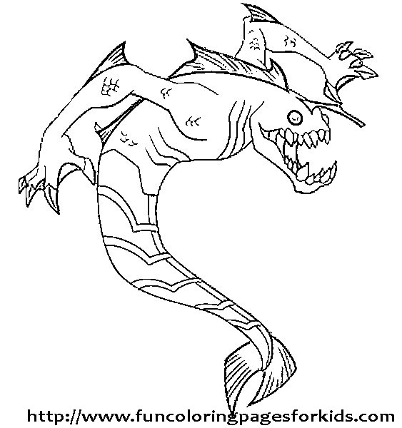 Ben 10 coloring pages best ben 10 coloring pages for Jaws coloring pages