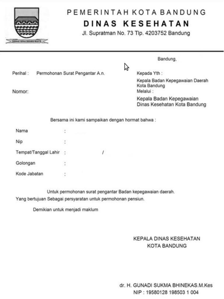 Contoh Surat Pengantar Dinas | Belajar Bahasa Indonesia