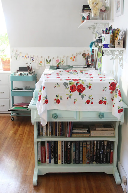 studio, work space, printer table, upcycling, Anne Butera, My Giant Strawberry