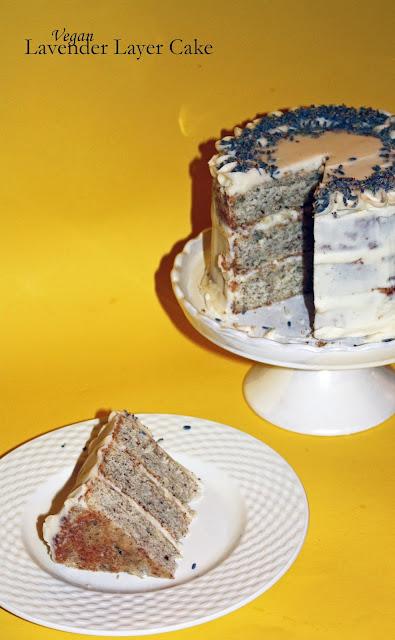 vegan lavender layer cake