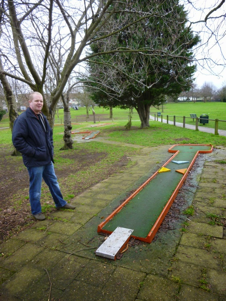 Local tour guide Brad Shepherd shares some minigolf stories as we walk the Woodlands Park Crazy Golf course in Gravesend, Kent