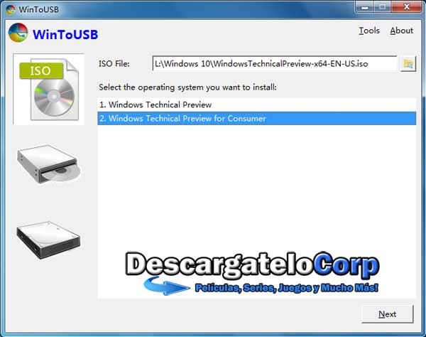 Descargar WinToUSB Ejecuta Windows desde un USB