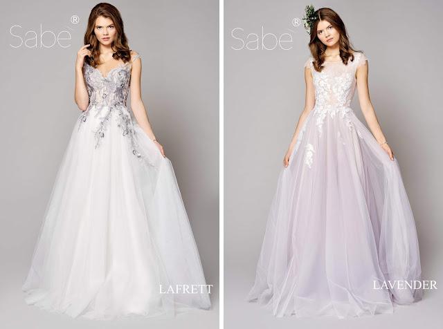 Atelier SABE suknie ślubne. Kolekcja 2019 Ethereal. Suknia ślubna kolorowe zdobienia na gorsecie, lawendowa spódnica.