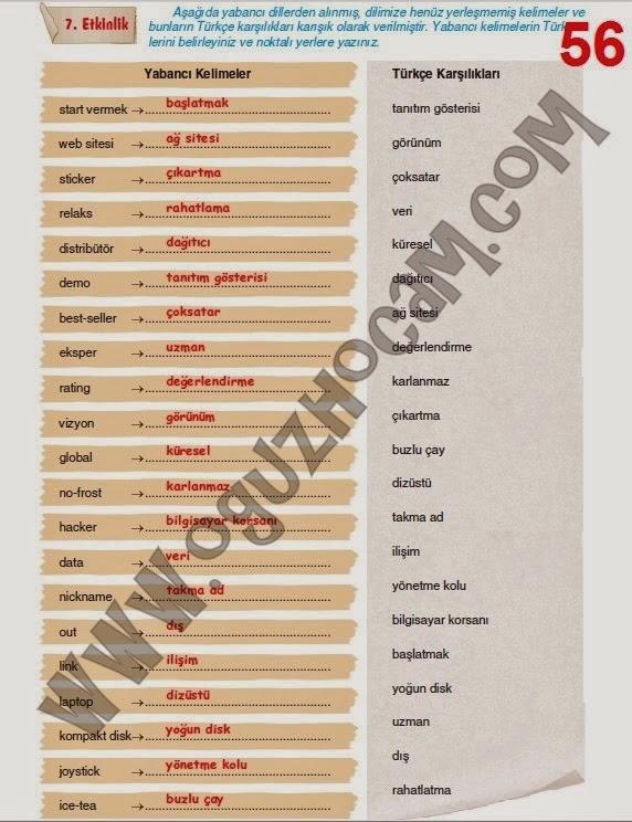 Sınıf türkçe çalışma kitabı yıldırım yayınları 56 sayfa