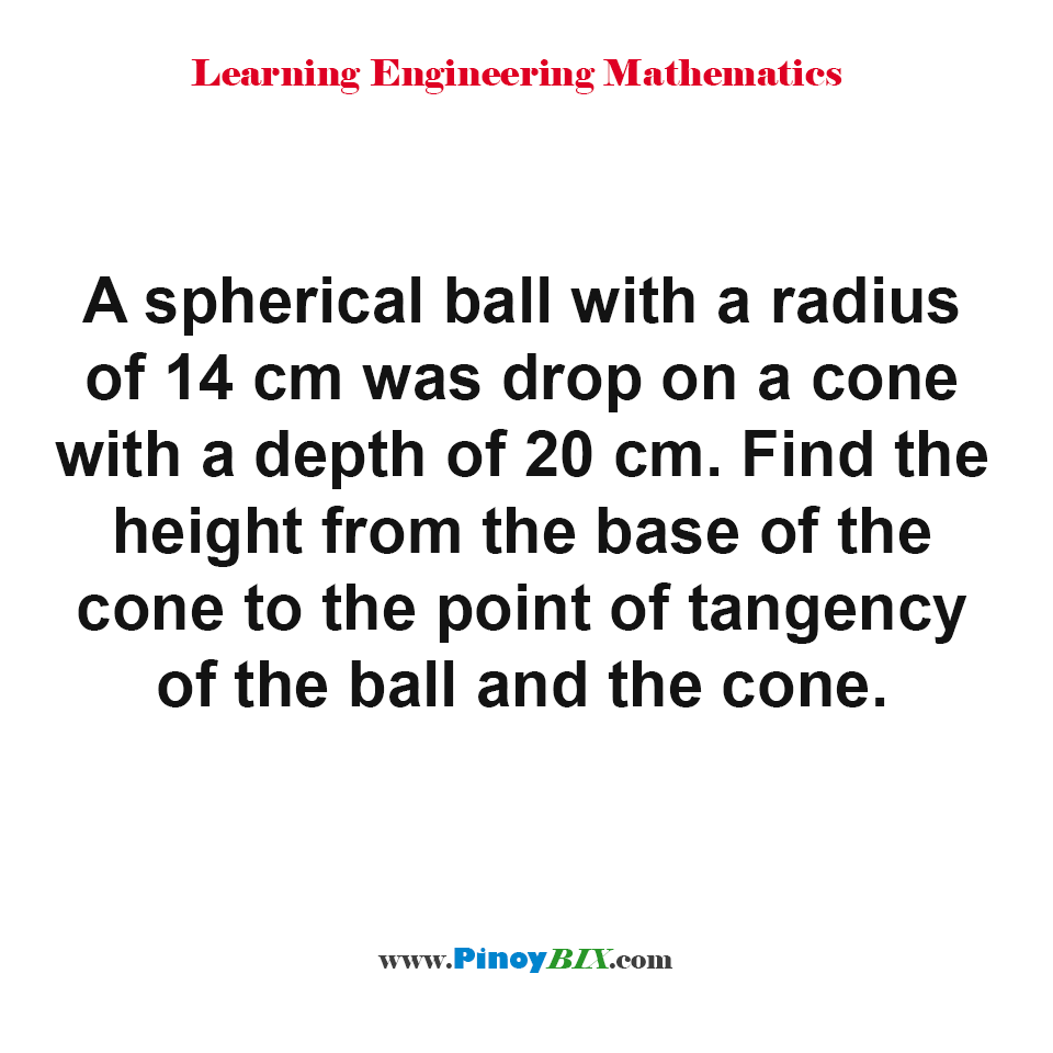 Find the height from the base of the cone to the point of tangency of the ball and the cone