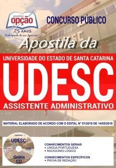 Apostila UDESC Assistente Administrativo 2018 (Grátis CD)