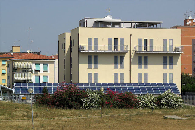 Building with solar panels, Via Zambelli, Livorno