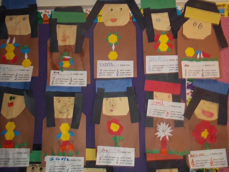 Kinder Garden: Mrs. Wood's Kindergarten Class: Pattern Block Indians