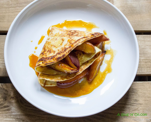 Pancakes with Caramelised Nectarines view from above
