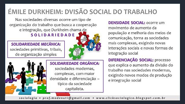 resumo mapa conceitual solidariedade mecânica e orgânica Click Sociológico