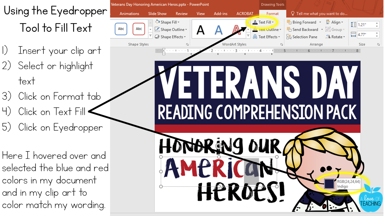 How to use the Eyedropper Tool in PowerPoint to Fill Text